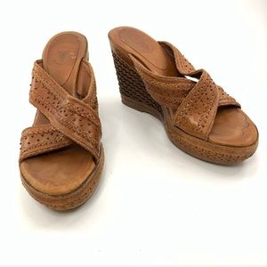 Frye woven leather wedges